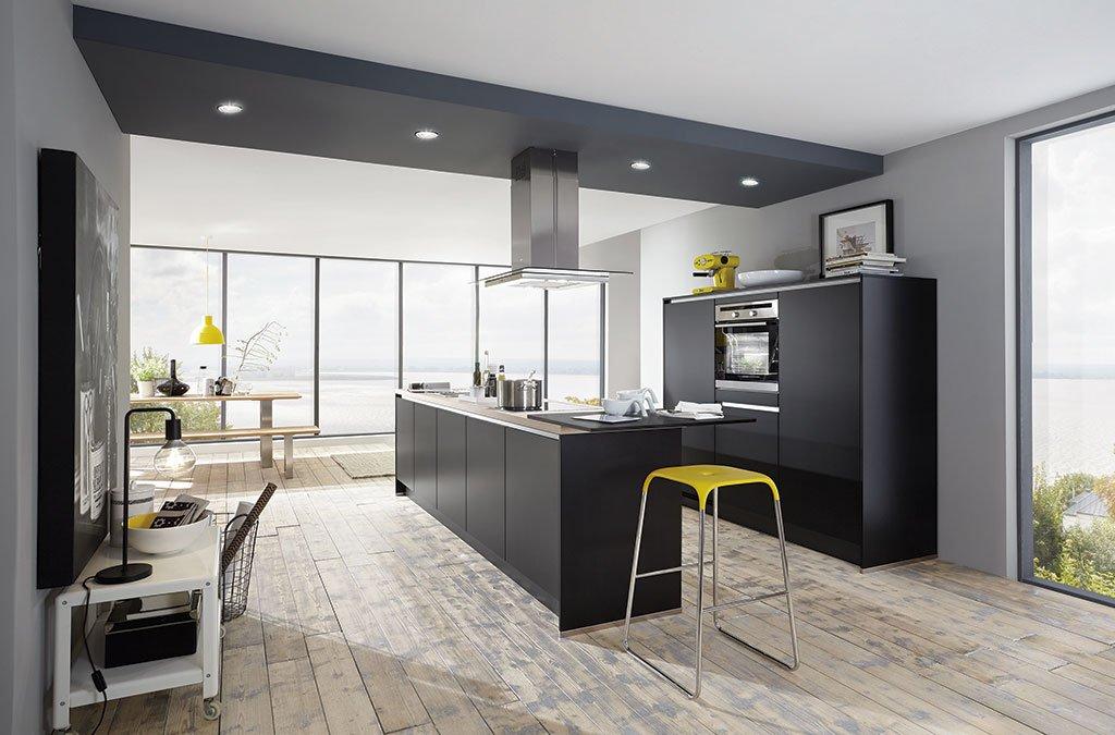 Keuken deventer 6399 met aeg inbouw apparatuur - Cuisine noir mat ...